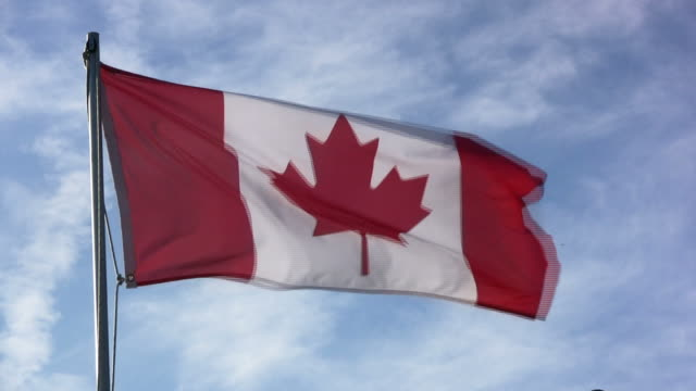 HD: Canadian Flag Medium Shot