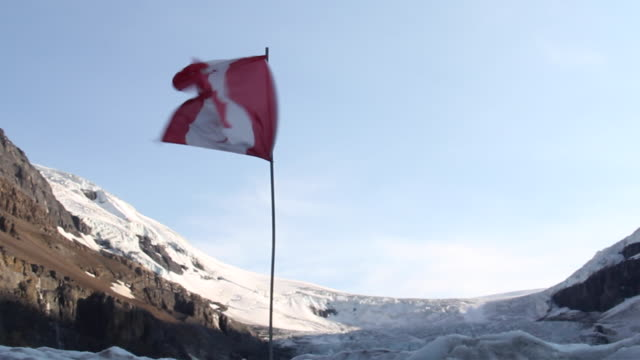 canadian flag mountain glacier - canadian flag stock videos & royalty-free footage