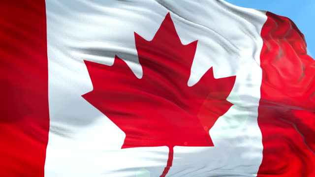 canadian flag - slow motion - 4k resolution - bandiera del canada video stock e b–roll