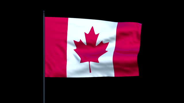 A Canadian flag waves against a black background.