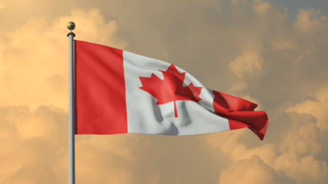 MS, Canadian flag waving against cloudy sky