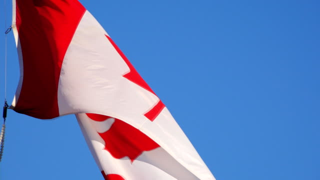 Canadian Flag Waving or Flying in Blue Sky