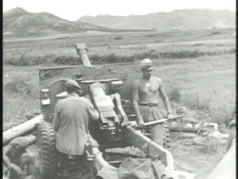 canadian forces officers talking artillery regiment firing cannons on field smoke united nations forces 38th parallel - regiment stock videos and b-roll footage