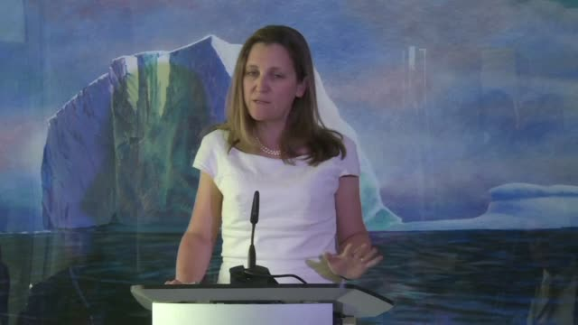canadian foreign minister chrystia freeland says during a press conference at the canadian embassy in washington dc that it would be a very dangerous... - foreign minister stock videos and b-roll footage