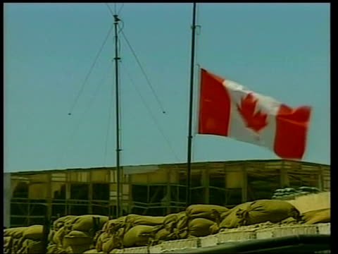 canadian friendly fire deaths/afghanistan king returns pool canadian flag flying at half mast ms flags pull out military base as soldiers around - army soldier stock videos & royalty-free footage