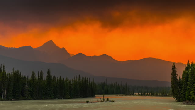 Canadian Landscape with Dust from a Forest Fire at Sunset