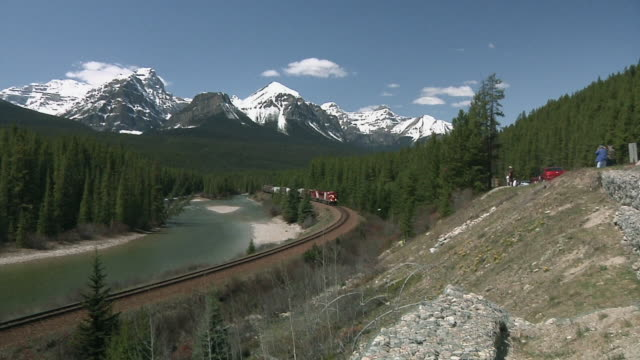WS HA Canadian Pacific Railway train traveling through Canadian Rockies / Banff, Alberta, Canada