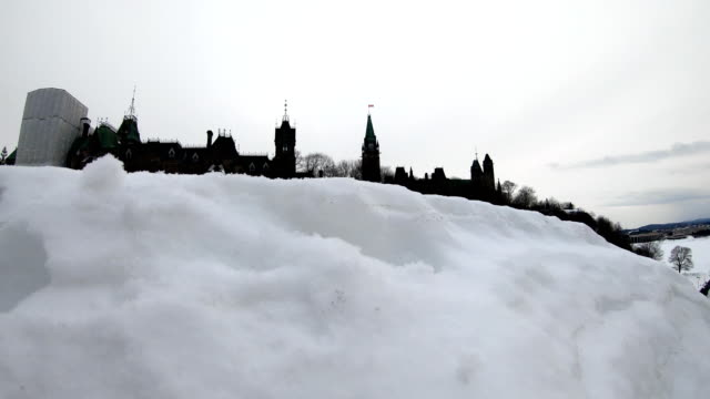 Canadian Parliament Building in Winter Viewed from the Fron