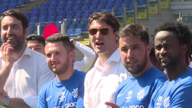 Canadian Prime Minister Justin Trudeau sponsored a football match between Fiorentina players and a team of refugees in Rome a symbolic event to...
