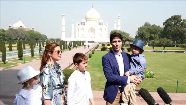 Canadian Prime Minister Justin Trudeau tours the Taj Mahal with his wife and children as he begins a week long visit to promote trade and investment...