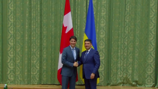Canadian Prime Minister meets with Ukrainian Prime Minister Volodymyr Groysman during his trip to Kiev where both countries signed a milestone free...