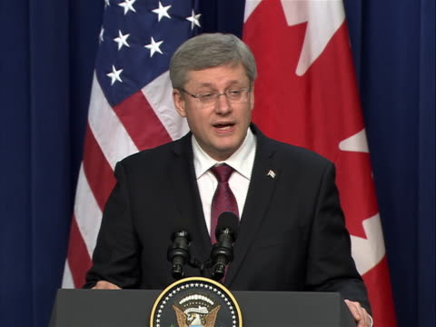 canadian prime minister stephen harper discusses the us-canada relationship at a white house press conference alongside united states president... - united states and (politics or government) stock videos & royalty-free footage