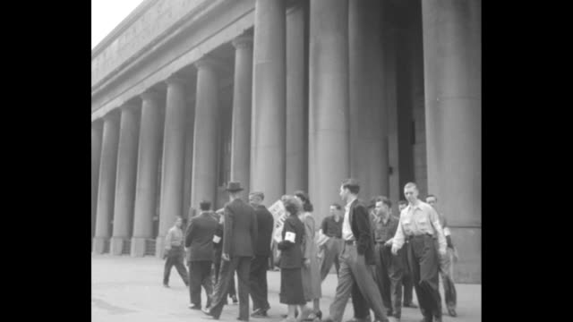 canadian railway strike / interior empty union station in toronto / cu telephone operator / men and women picketing outside union station with signs... - newspaper strike stock videos & royalty-free footage