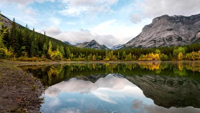 canadian rockies mountain on wedge pond in autumn forest at kananaskis country - banff national park stock videos & royalty-free footage
