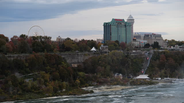 canadian side of tourist resorts at the niagara falls - river niagara stock videos & royalty-free footage