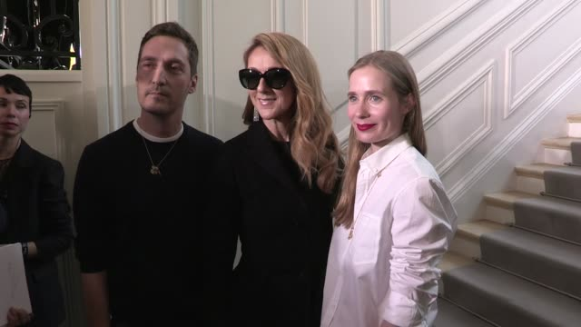canadian singer celine dion and french actress marion cotillard greet the designers lucie meier and serge ruffieux after the dior fall winter 2016... - céline dion stock videos & royalty-free footage