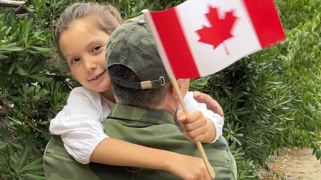 canadian soldier and his daughter - army soldier stock videos & royalty-free footage