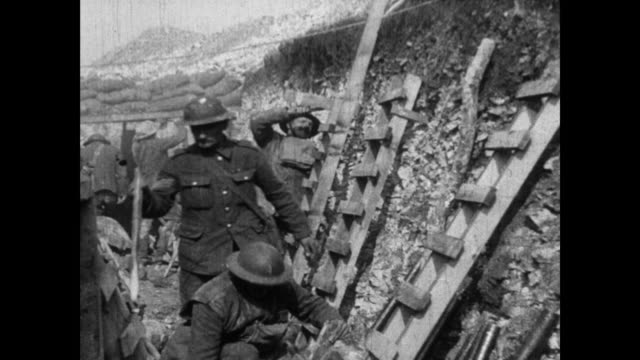 vídeos y material grabado en eventos de stock de ms of canadian soldiers fixing up ladders in trench in preparation for attack / hams of canadian cavalry company moving by camera at moderate pace /... - cavalry