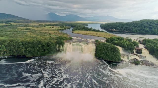 canaima national park waterfalls aerial view and carrao river. canaima national park, venezuela - venezuela stock videos & royalty-free footage