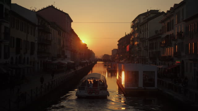 Canal At Naviglio Grande in Milan, Italy at sunset