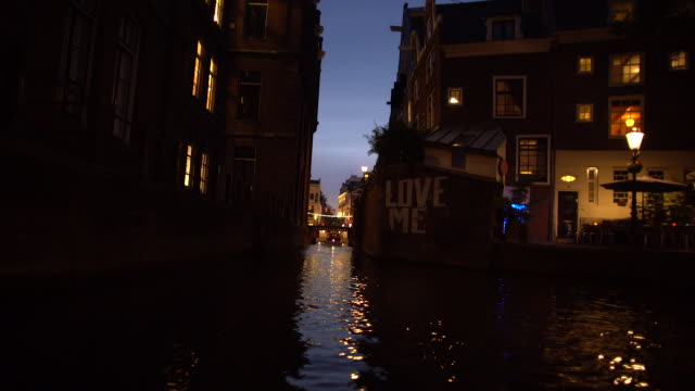 canal at night - boat point of view stock videos & royalty-free footage