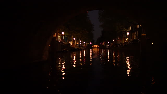 canal at night-tunnel - boat point of view stock videos & royalty-free footage