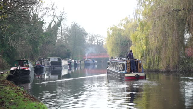 canal barge on canal - barge stock videos & royalty-free footage