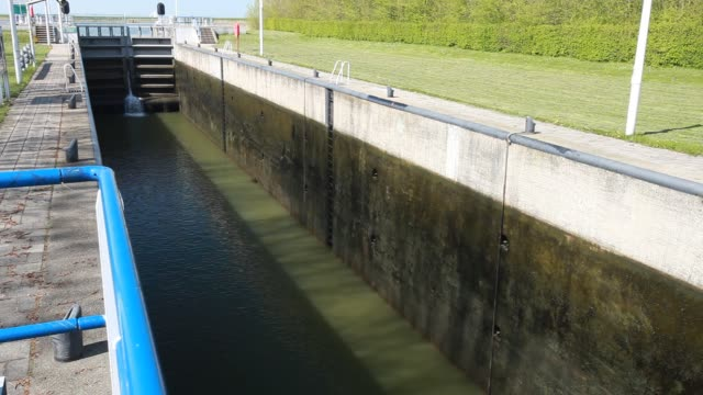 canal going from the sea to the reclaimed polder land in holland, north of amsterdam, which is some 20 feet lower than the sea. with 50% of the... - north sea canal stock videos & royalty-free footage