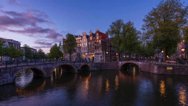 canal houses in amsterdam day to night - 4k time-lapse - ferry deck stock videos & royalty-free footage