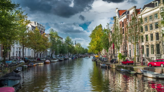 canal in amsterdam, netherlands - canal stock videos & royalty-free footage