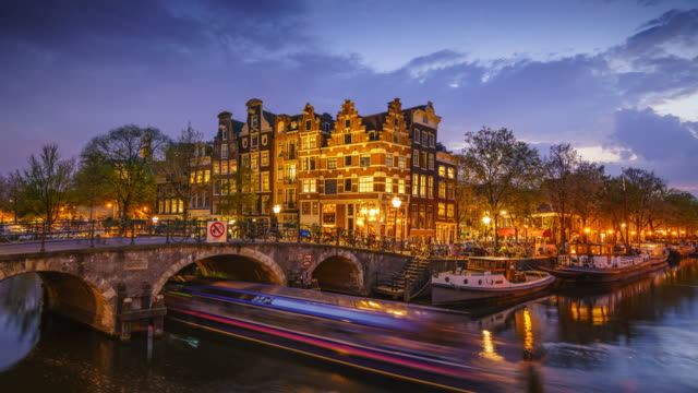 Canal scene in Amsterdam, day to night time lapse