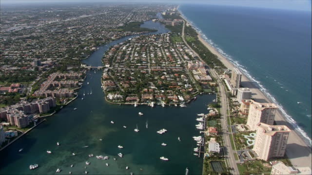 AERIAL, Canals and coastline, Miami, Florida, USA