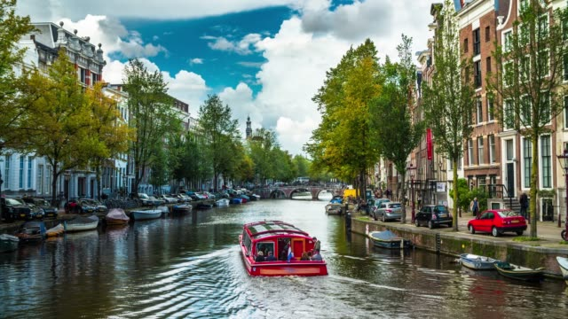 canals of amsterdam in the netherlands - canal stock videos & royalty-free footage