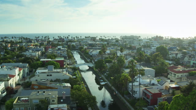 canals of venice in los angeles, california - aerial shot - canal stock videos & royalty-free footage