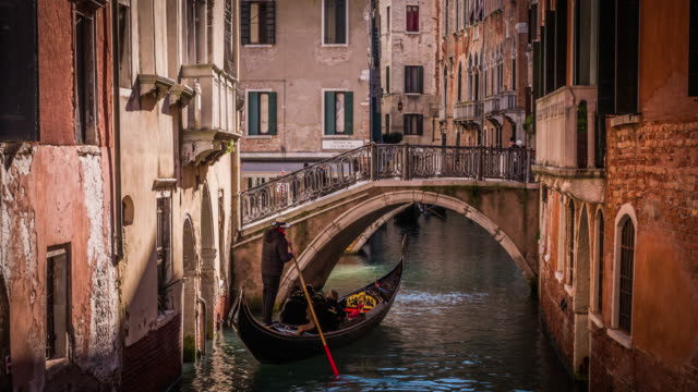 canals of venice with gondola - venice italy stock videos & royalty-free footage