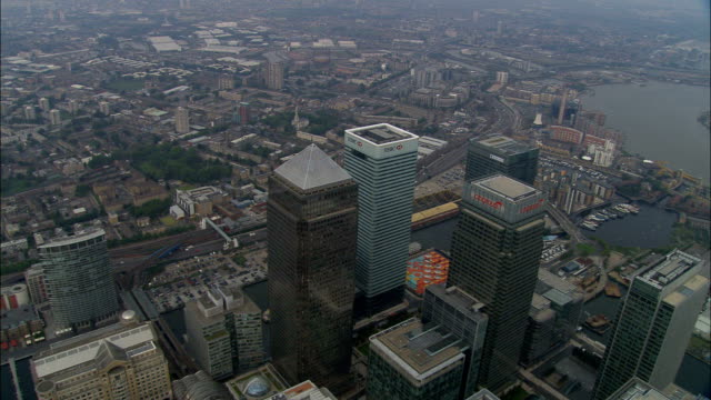 Canarino Wharf-Vista aerea-Inghilterra, Londra, tower Hamlets, Regno Unito