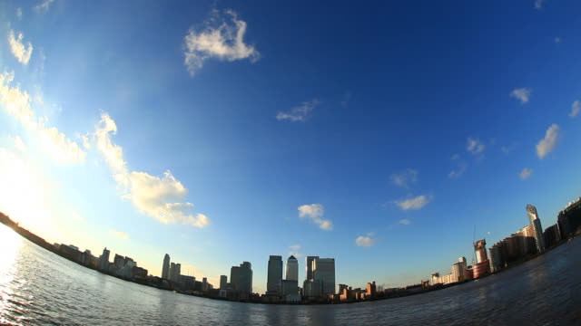 canary wharf and river thames hd video - london docklands stock videos & royalty-free footage