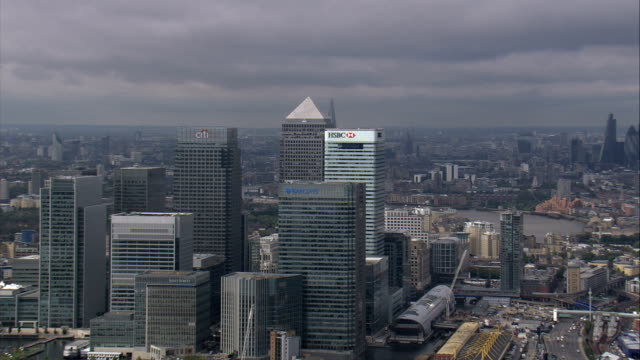 canary wharf and shard  - aerial view - england, united kingdom - canary wharf stock videos & royalty-free footage