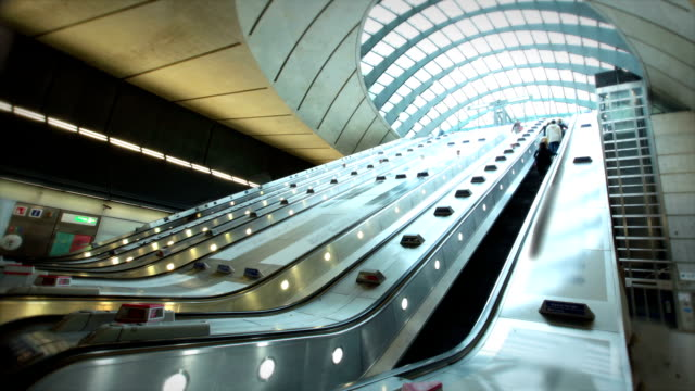 canary wharf, london, enland - escalator stock videos & royalty-free footage
