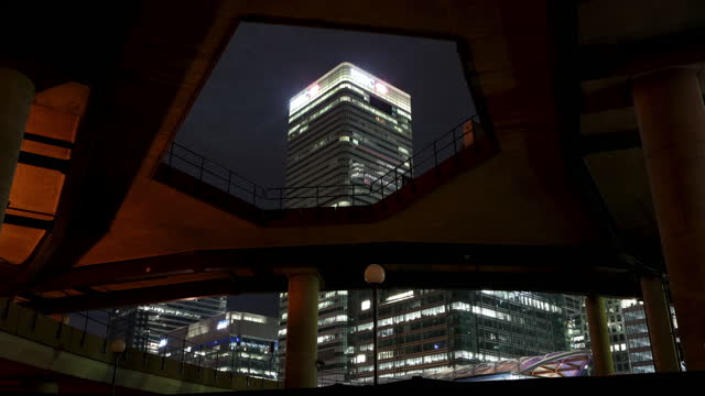 canary wharf metro underpass - light trail stock videos & royalty-free footage