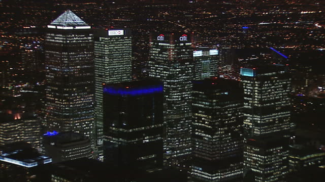 aerial canary wharf orbit at night - cityscape stock videos & royalty-free footage