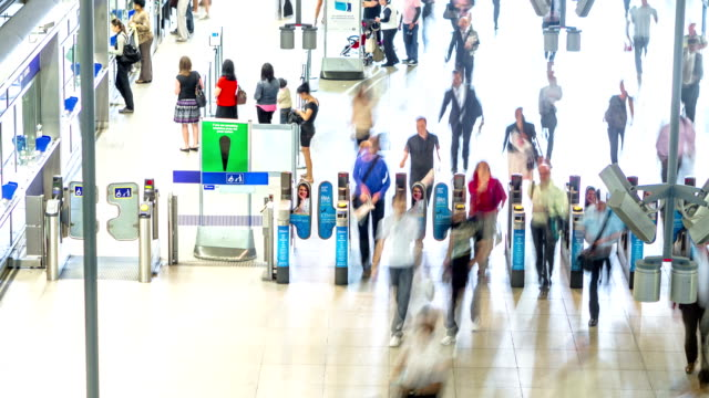 Canary Wharf Station Timelapse close up ticket Barriers