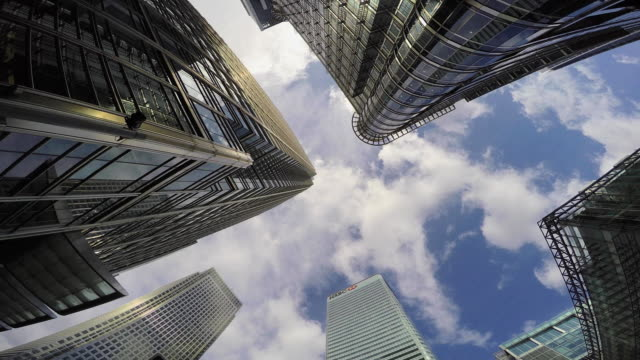 canary wharf towers pov. - canary wharf stock videos & royalty-free footage