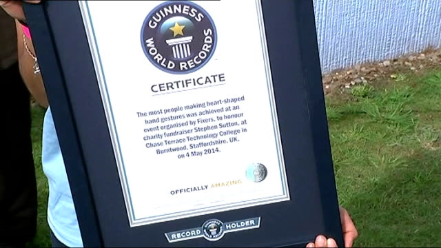 cancer patient stephen sutton appears at world record breaking event 'guiness world records' certificate - world record stock videos & royalty-free footage