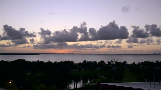 Cancun lagoon at sunset