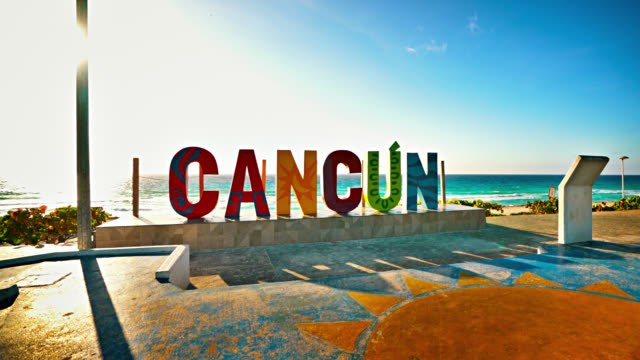 cancun sign. mexico. beach - cancun stock videos & royalty-free footage