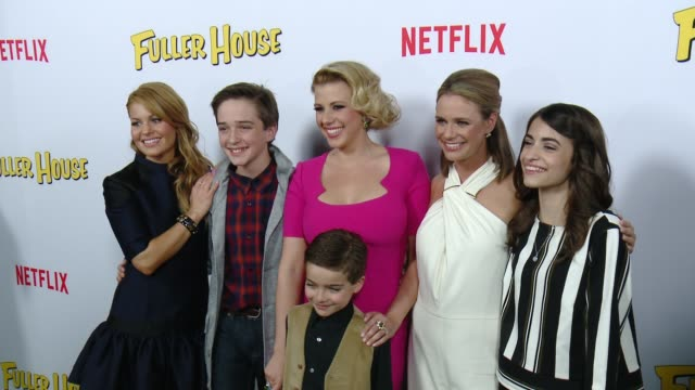 Candace CameronBure Jodie Sweetin Andrea Barber Michael Campion Soni Bringas and Elias Harger at the Netflix's Fuller House Premiere at Pacific...