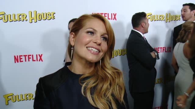 vídeos de stock, filmes e b-roll de interview candace cameronbure on what it's like to be part of this new series and what fans should expect at the netflix's fuller house premiere at... - the grove los angeles