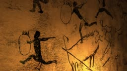 Candelight fire dances over cave paintings in prehistoric cavern - V2