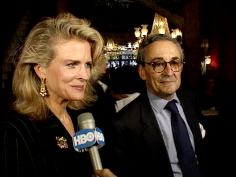 candice bergen and husband, louis malle talk to reporter about jack nicholson turning in to werewolf on red carpet. - jack nicholson stock videos & royalty-free footage